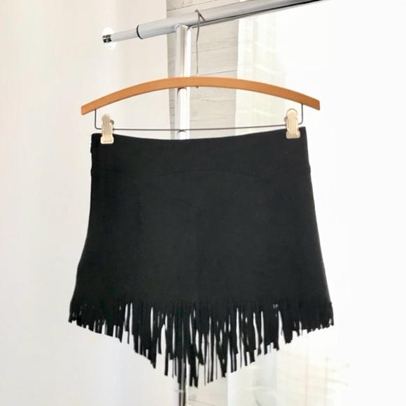 DO+BE Dresses & Skirts - Do+Be Faux Suede Black Fringe Hem Mini Skirt